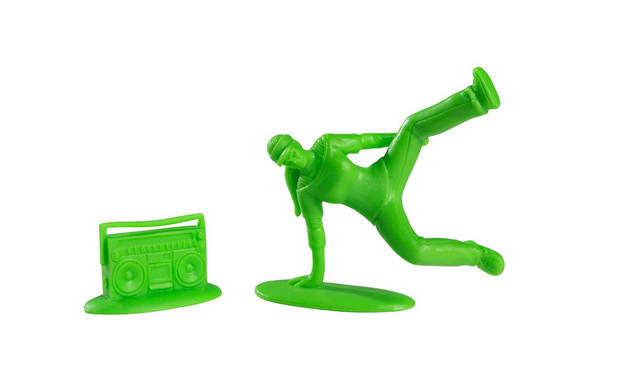 T11LR007 1 Plastic Breakdancers by Kidrobot, Inspired By Little Green Army Men