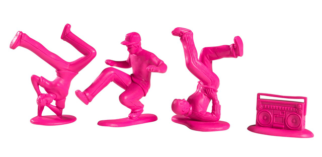 T11LR007 2 Plastic Breakdancers by Kidrobot, Inspired By Little Green Army Men