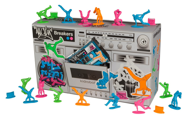 T11LR007 6 Plastic Breakdancers by Kidrobot, Inspired By Little Green Army Men