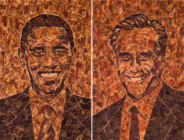 Barack Obameat & Meat Romney, Election Meat Snack Portraits