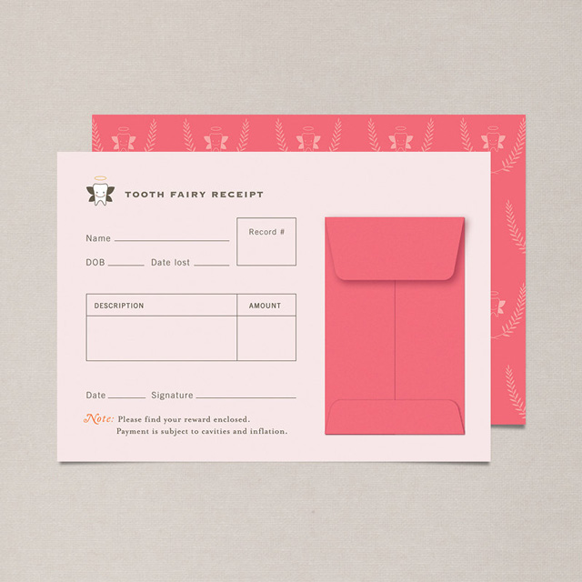 Tooth Fairy Receipt in pink