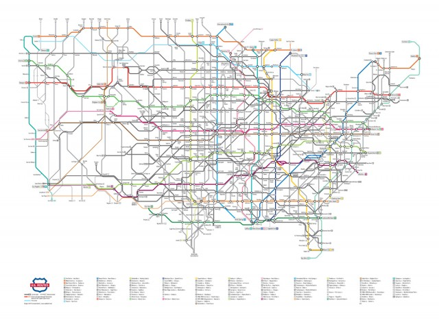 US Highway System Subway Map by Cameron Booth