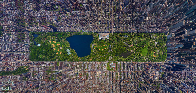 Aerial panoramic photo of New York City's Central Park