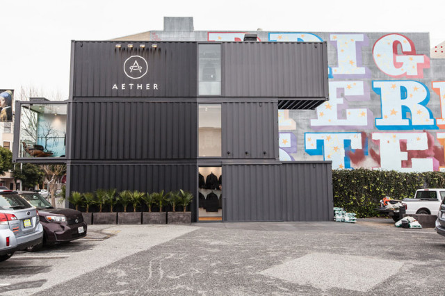 Aether opens san francisco clothing store made of three stacked shipping containers - Container store home office ...