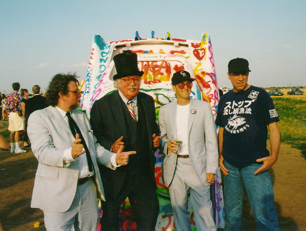 Hudson Marquez, Stanley Marsh 3, Chip Lord and Doug Michels at the 20th anniversary party for Cadillac Ranch in Amarillo, June 21, 1994