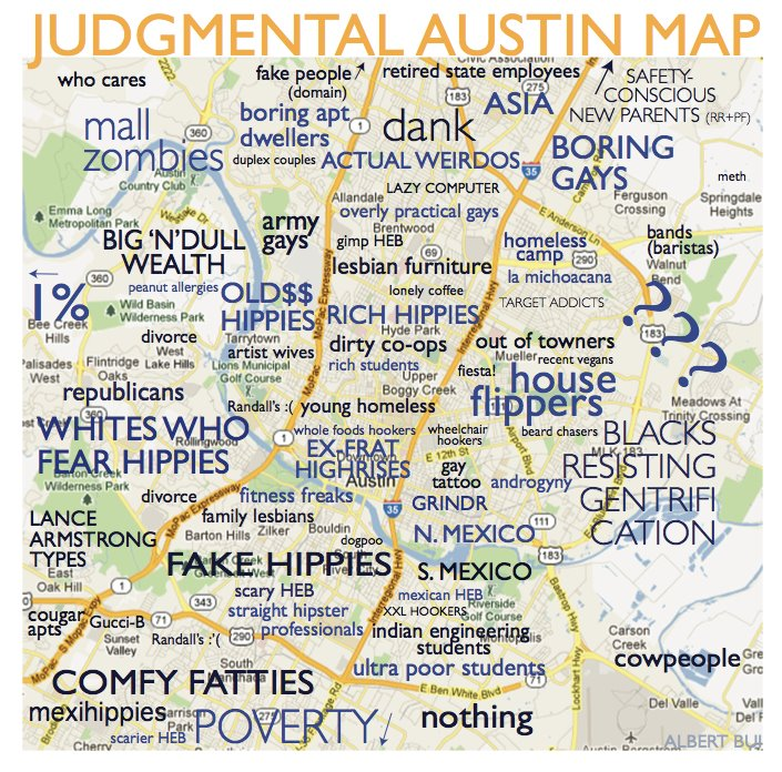 austin tx neighborhood map A Judgmental Map Of Austin Neighborhoods austin tx neighborhood map