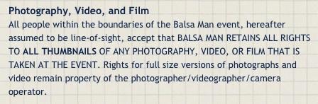 Balsa Man Photo Policy