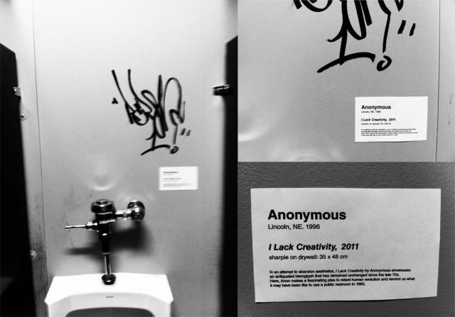 I Lack Creativity Bathroom Graffiti As Art In A Museum