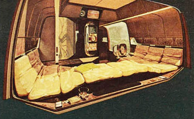 The playboy land yacht a futuristic bachelor pad on wheels 1975 when our land yacht is parked its brain box front center can be closed and pivoted to double as a cocktail table sciox Gallery