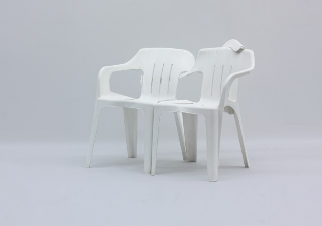 Plastic Chair Sculptures by Bert Loeschner
