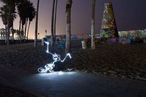 Breaking Bones, Animated Light Painting of a Break Dancing Skeleton