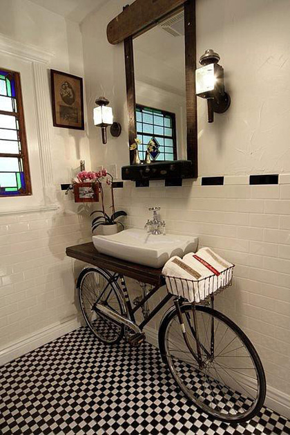 repurposed bicycle bathroom vanity
