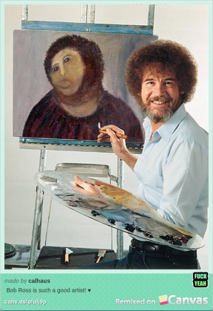 Botched jesus painting restoration is really a bob ross self portrait voltagebd Gallery