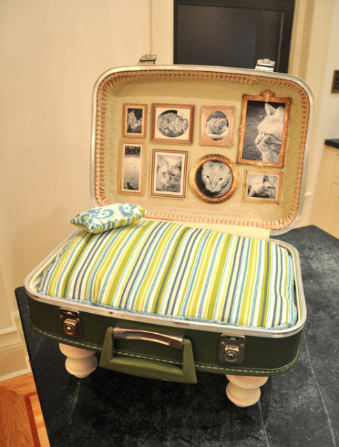 Vintage Suitcase Cat Bed, Made Complete With Framed Pictures