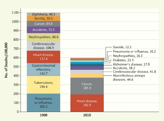 Causes of Death, 1900 vs 2010