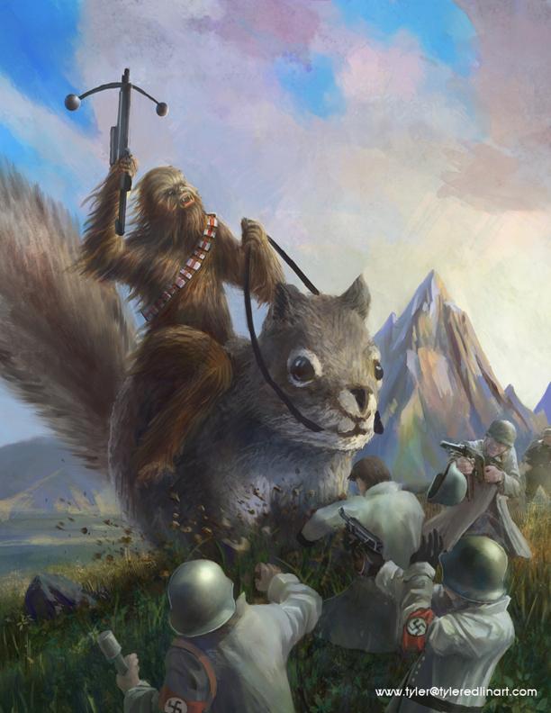Chewbacca Riding a Giant Cute Squirrel Chasing Down Nazis