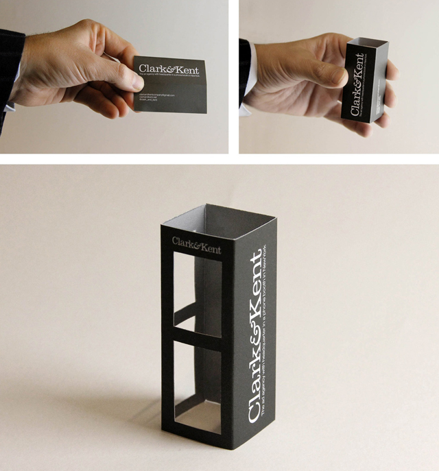 Ad agency clarkkent creates pop out phone booth business cards colourmoves