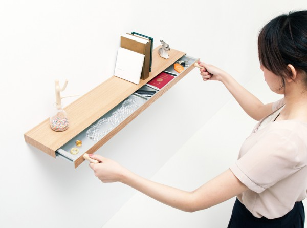 Clopen shelf with hidden drawer