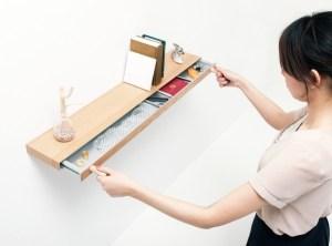 Clopen shelf with hidden drawer