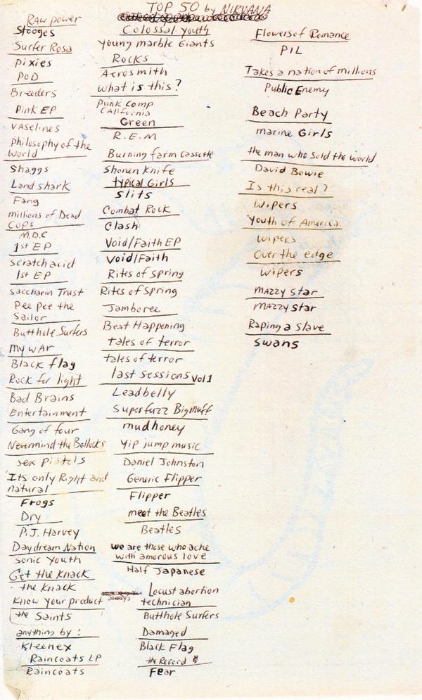 Kurt Cobain's Top 50 Albums List