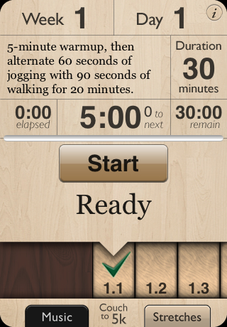 Couch to 5k iphone app helps you work out and get into shape for Couch 5k app