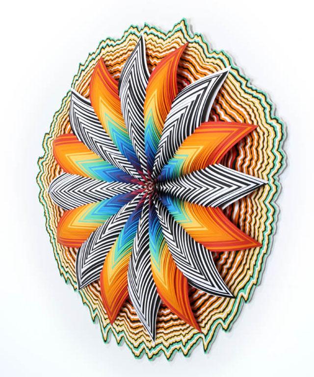 Hand-cut paper sculptures by Jen Stark