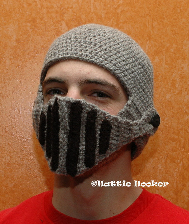 Crocheted Knight Helmet by Dee Forrest (Hattie Hooker Etsy Shop)