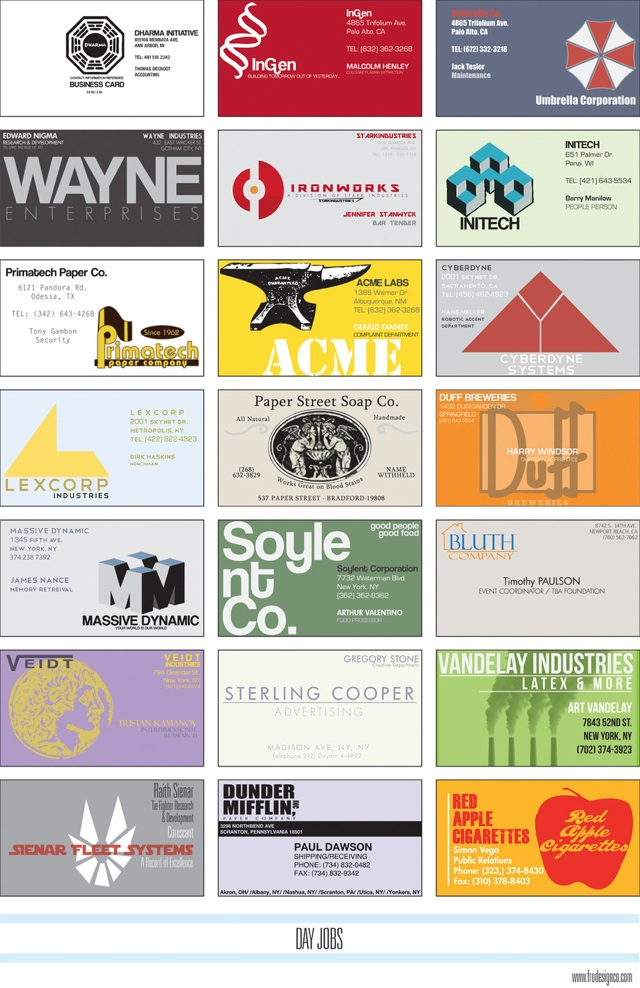 Business cards for fictional companies day jobs colourmoves