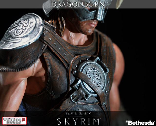 Skyrim dragonborn statue holding an illuminated fireball