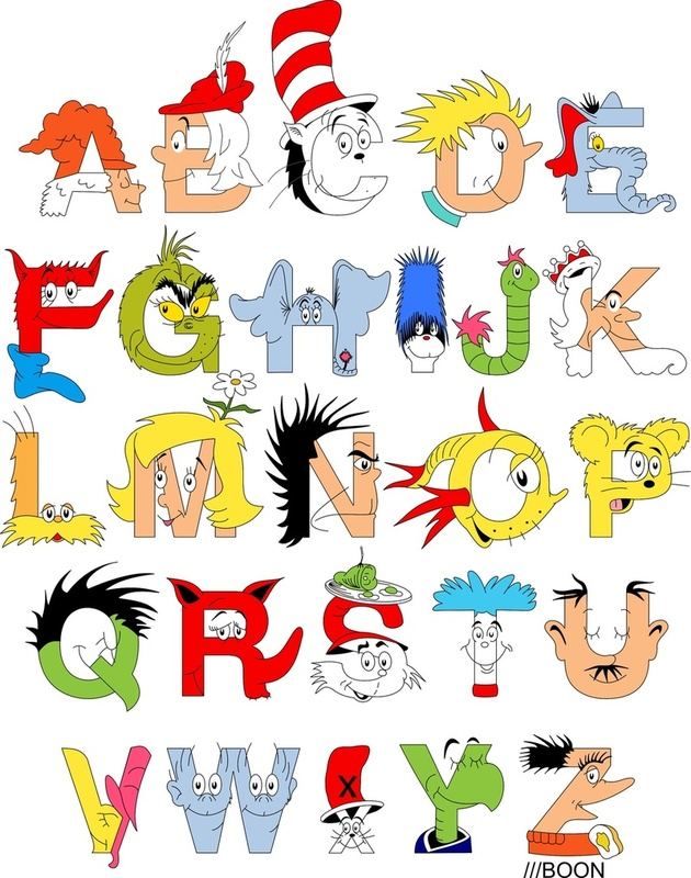... Dr. Seuss Alphabet , an ABC poster inspired by Dr. Seuss characters