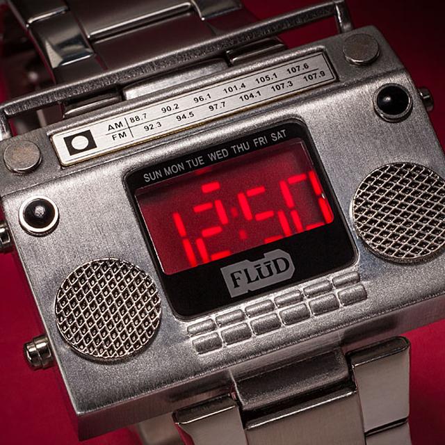 Boombox Metal Wristwatch at ThinkGeek