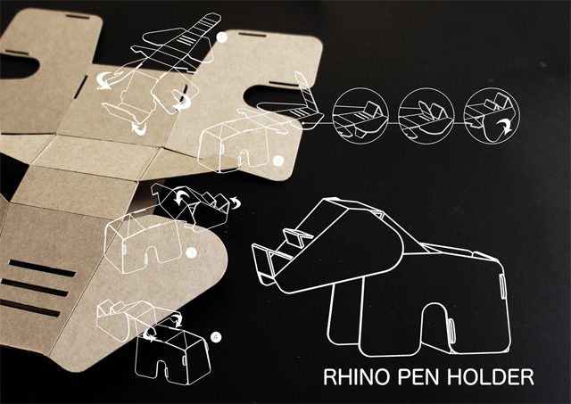 Rhino Pen Holder - Eco DIY Collection by Eduardo Alessi