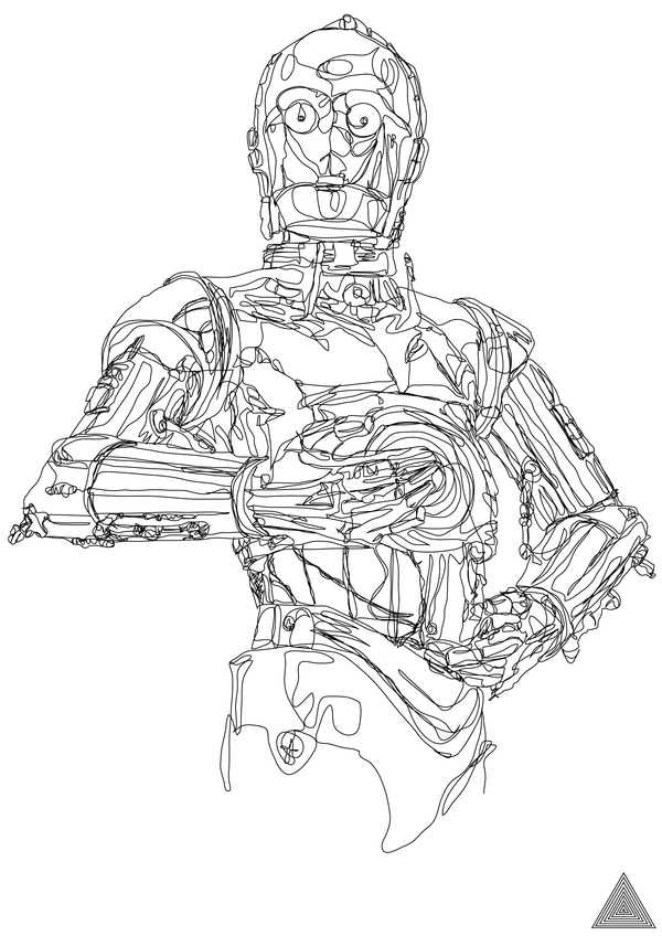 Simple Continuous Line Art : Star wars continuous line drawings