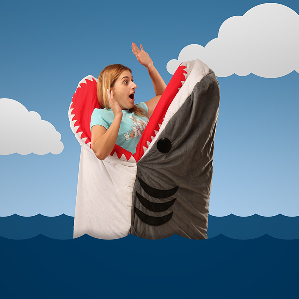 Shark Pillow That Eats You chumbuddy sleeping bag, looks like a shark is eating you alive