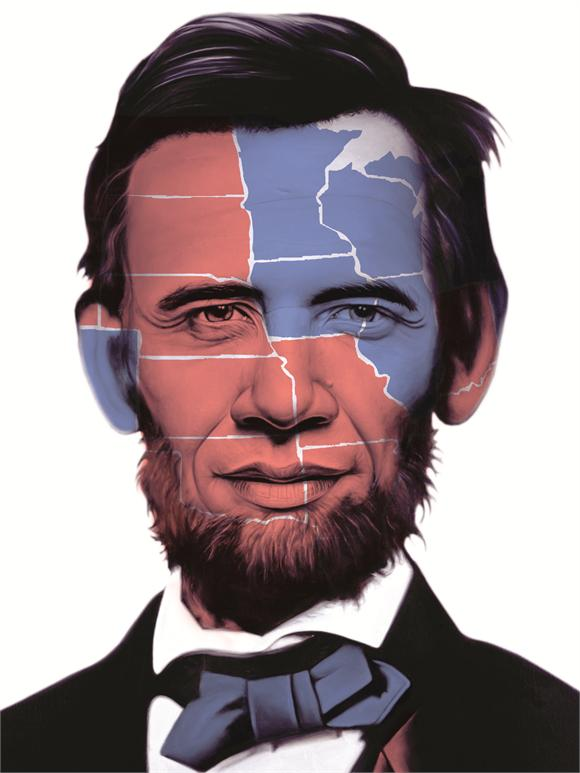 Abraham Obama Electoral Map 2012 by Ron English