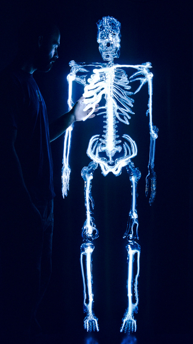 Embodiment, Glowing Skeleton Sculpture by Eric Franklin