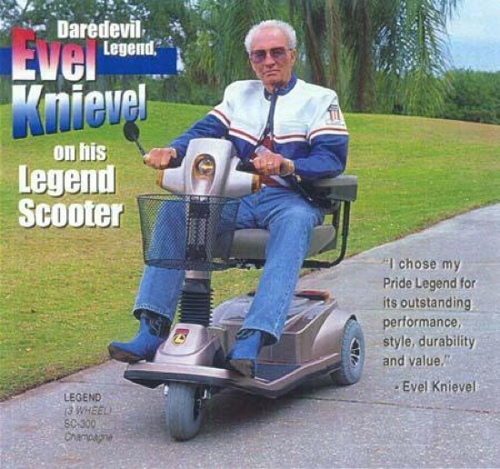 Evel Knievel on His Legend Scooter