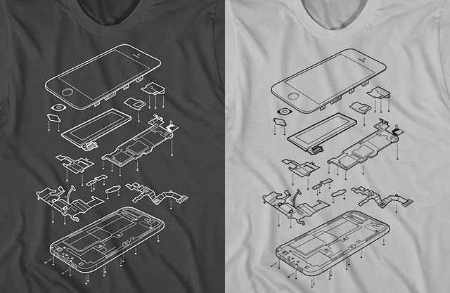 exploded phone 5 t shirt design shows an internal view of the iphone 5. Black Bedroom Furniture Sets. Home Design Ideas