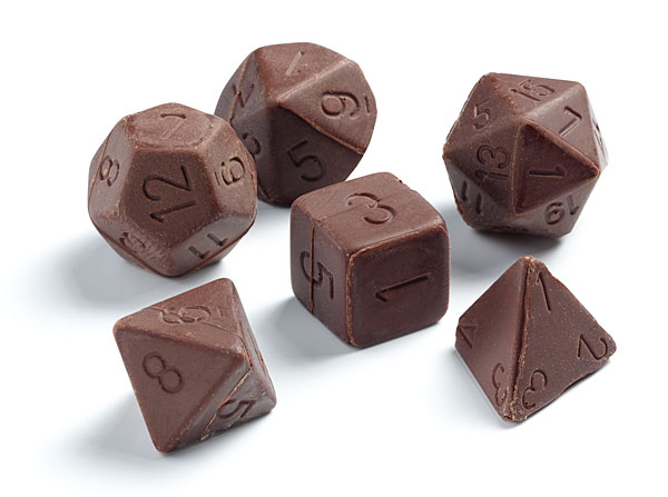 Chocolate Gaming Dice Set at ThinkGeek