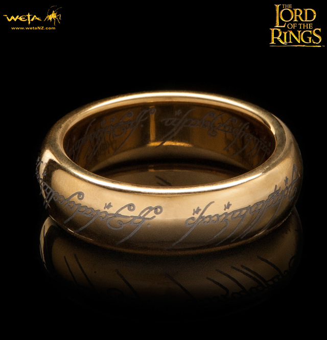 The Lord of the Rings Gold-Plated Tungsten Carbide One Ring Replica