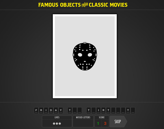 memorable object Famous objects from classic movies which movie is the object from an online game for movie lovers more than 140 movies to guess ipad version coming soon.