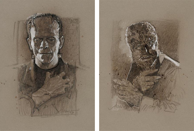 Frankenstein and Wolfman Portraits by Drew Struzan