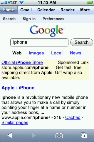 Google iPhone Application, Combined Access To Muliple Services