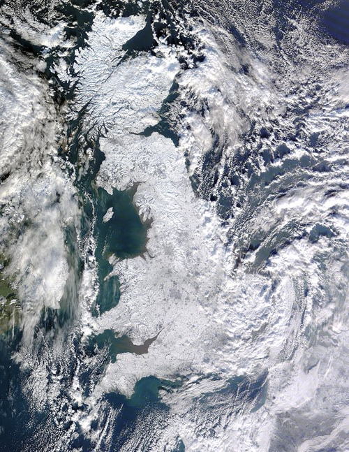 Satellite Photo of Great Britain Covered in Snow