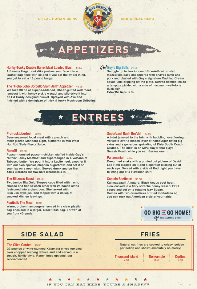 Guy Fieri Menu