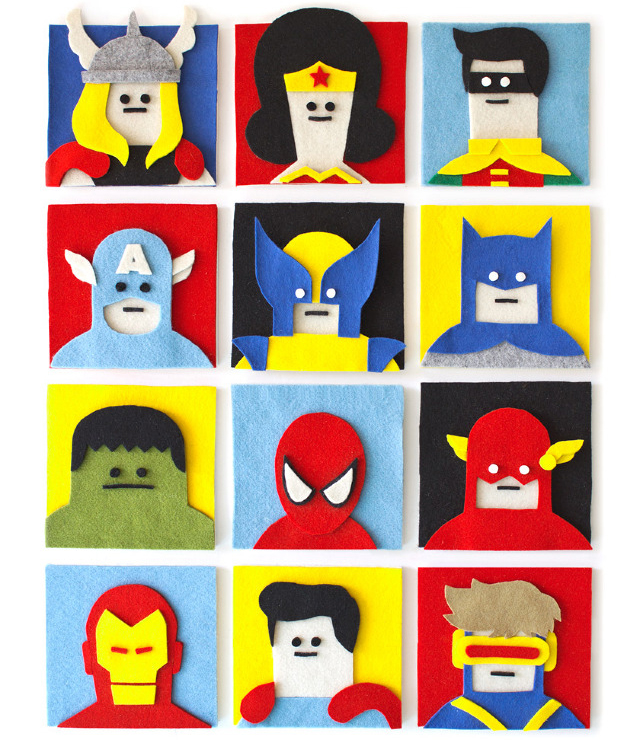 Felt Heroes - Felt Collage by Jacopo Rosati