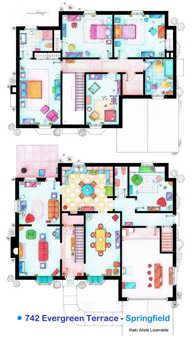 Hand drawn floor plans of popular tv show apartments and for Simpsons house floor plan