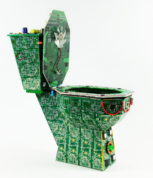 The Royal Data Throne, Tiny Circuit Board Art Toilet For Dumping Data