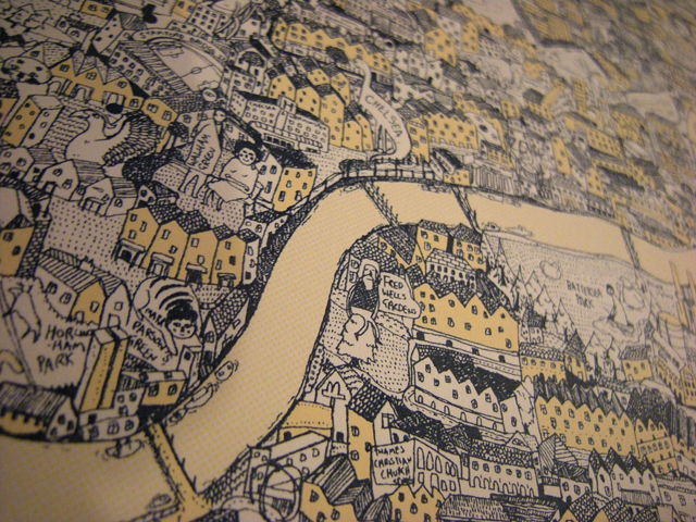 Hand Drawn Map of London by David Ryan Robinson