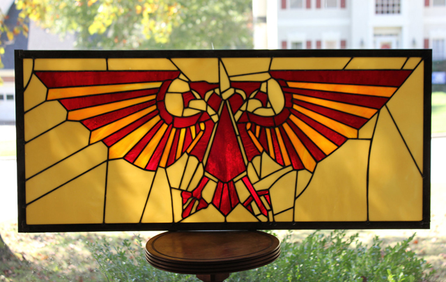 Warhammer 40k Imperial Aquila X Stained Glass Panel by Martian Glass Works